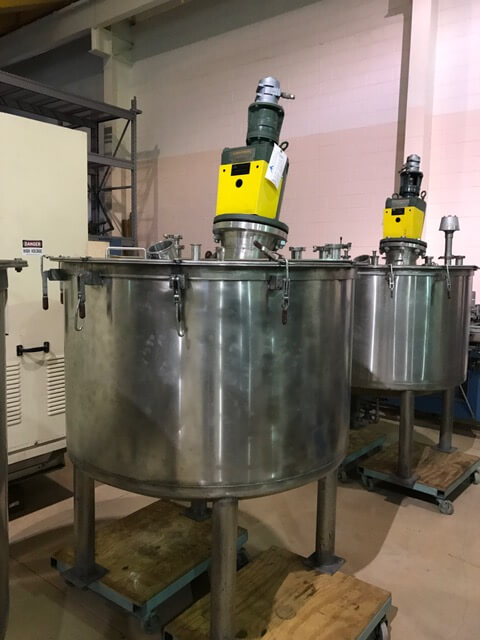 Vertical 250 Gallon Agitated Stainless Steel Process Tank (AA-7025)